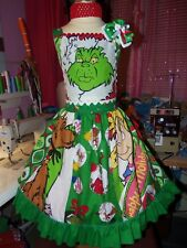 Vintage Fabric  Grinch stole christmas Girls Dress and Bow  Size 7/8