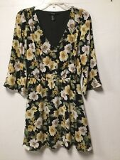 Womens Dress Size M Black Yellow Colorful Empire Waist Lined Forever 21 202