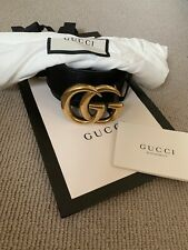Authentic GUCCI Black Leather Belt Marmont with Double G Buckle - Size 85cm