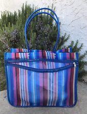 LARGE BLUE MULTI-COLOR STRIPES MESH REUSABLE BEACH/SHOPPING TOTE BAG