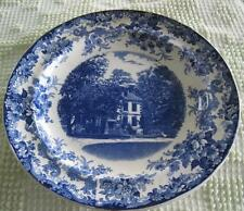 "Vintage Mintons Arnold's Sweet Briars Mansion Blue Transfer Ware 9.25"" Plate"