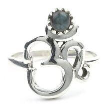 Labradorite Om Ring, Sterling Silver Labradorite Ring, Stone Jewelry, Gemstone