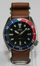 SEIKO Vintage 7002-7009 Pepsi Bezel Classic Diver Watch Automatic ZULU Leather