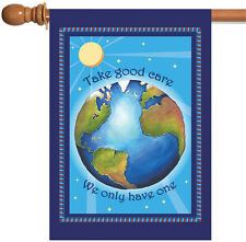 NEW Toland - Protect Earth - Conserve Care Nature Blue Globe Sun House Flag