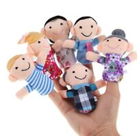 """Family Finger Puppets Cloth Doll 6 Piece Educational Hand Toy Set 2"""" Each"""