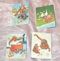 4 VTG 1940'S LAWSON WOOD MEDDLESOME MONKEYS SMALL INK BLOTTER CARDS