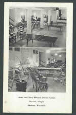 WW2 1944 RPPC* Army & Navy Masonic Svce Center Shows Lounge&Recreation See Info