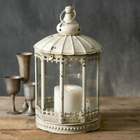 Country new large AUGUSTINE tin Candle lantern/ can sit or Hang