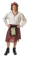 Mens Scottish Red Kilt Fancy Dress Costume Scot Scotl& Tartan Skirt Outfit New