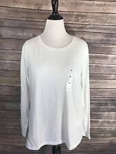 NEW Sonoma Womens Top XL White Long Sleeve Basic Everyday Long Sleeve Tee Shirt