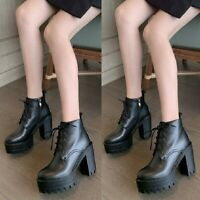Womens Punk Lace Up Block Heel Platform Round Toe Gothic Ankle Boots Size 34-46