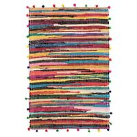 ⭐ Pom Pom 60x90cm Cotton Chindi Rag Rug Multicoloured Braided Rainbow Fair Trade