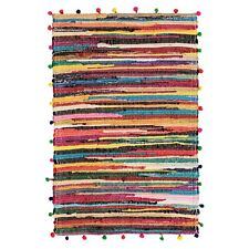 Fair Trade 60x90cm Pom Pom Cotton Chindi Rag Rug Multicolour Braided Rainbow