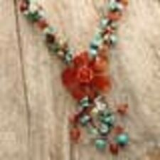 Agate And Carnelian Flower Multi Color Necklace Handmade By Artisans In Thailand