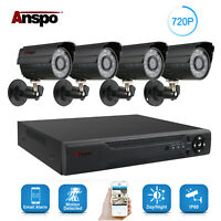 Anspo 4CH AHD Home Security Camera System Kit Waterproof Night Vision DVR CCTV