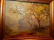 Vintage Listed Artist H.G. Aitken Framed Trees + Lake Landscape Oil Painting