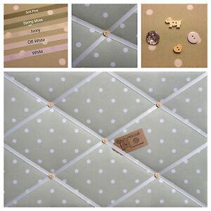 Clarke & Clark Dotty Spot Fabric Sage Pin/Memo/Notice Board Cork SMl LG XL