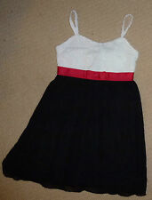 NWT Target Girls Black White Red Embroidered Bow Party Summer Dress Size 8
