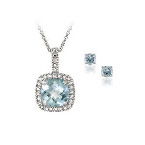 925 Silver 4ct Blue Topaz & Diamond Necklace & Earrings Set