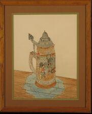 """Original Ink and Pastel Naughty Drawing: """"Die Freud Hat"""""""