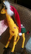 "Annalee 2005 Christmas Giraffe Ornament Presents Eyelashes Braided Tail Hat 14"""