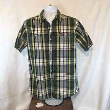 Ecko Unltd. Men's Button Down Shirt Short Sleeves Blue Green Yellow Plaid Sz M