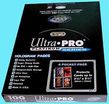 100 ULTRA PRO PLATINUM 4-POCKET Pages Sheets Protectors 1 Box Binder Hologram