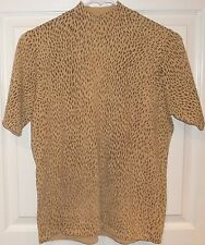 JENNIFER MOORE~GOLD LEOPARD BLOUSE~size Medium~NEW~Mock Neck METALLIC Knit Top