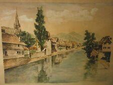 paysage riviere , aquarelle et gouache , vue de salies de béarn