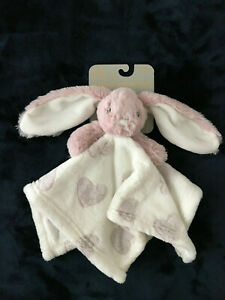 New Blankets & Beyond rose bunny hearts Nunu Lovey Security Blanket baby toy