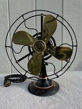 "Antique 9"" GE brass fan blade restored oscillating vintage 1924 painted stripes"