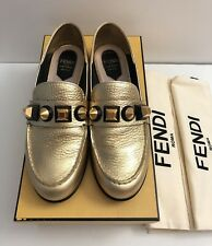 Fendi Stud Embellished Loafers In Gold Size 36 100% AUTHENTIC