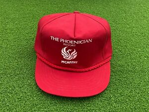 NICE Vintage 1980's THE PHOENICIAN RESORT Trucker Style Cord GOLF HAT RED Used