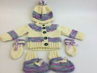 Hand Knitted 6 piece baby outfit - bobble hat, cardigan, mittens and bootees