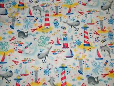 BTY Timeless Treasures WHALE Hello NAUTICAL Wh Print 100% Cotton Quilt Fabric