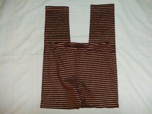 Old Navy Girl's Leggings Elastic Waist Size XL 14 Dark Red Gold Strip Cotton EUC