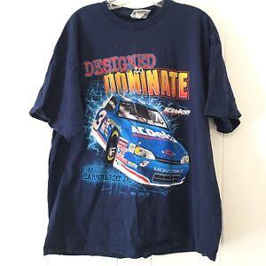 Vtg Chase Authentics Mens XL T Shirt Nascar Dale Earnhardt 3 All Over Print Blue