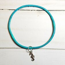 Stock# 141 - Recycled Rubber Teal/Blue Stripe Bangle Seahorse Charm Bracelet