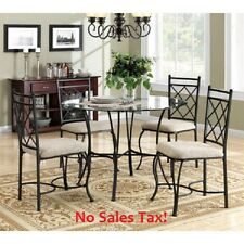 Glass Top Dining Set Metal 5-Piece Table Chair Seats 4 Traditional Furniture