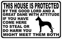 """House Protected Good Lord Great Dane Novelty Humor 14""""x10"""" Sign"""