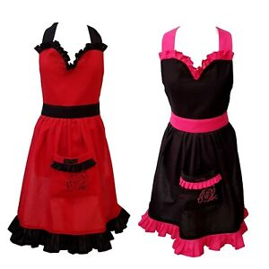 Red or Pink Fifi Frilly Cotton Apron, Valentines Apron