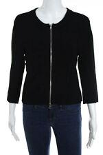 autumn cashmere Black Stretch Knit Full Zipper Cropped Cardigan Size Large