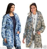 ladies womans size 8-18 lightweight shower rain jacket coat mac camouflage