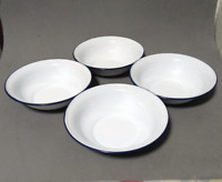 "Set 4pcsX 6.25"" White enamel camping round bowl vintage enamelware Plates dishes"
