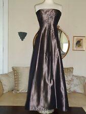 LAUNDRY Size 10  Strapless Beaded Full-Length Brown Silk Taffeta Gown/Dress