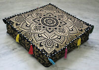 "18X4"" Square Black Gold Floral Mandala Cushion Cover New Design Pouf Cover Throw"