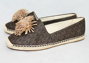 MICHAEL KORS Brown Signature MK Pom Pom Flats Wo's 8.5M Rubber Sole Slip Ons