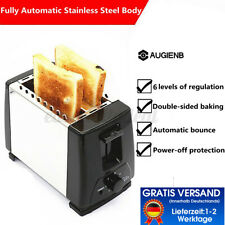 6-Gang 2-Scheiben Toaster 750W Toastkammern Sandwich Langschlitz Edelstahl DE *