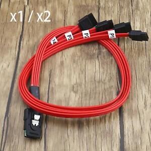 1x/2x Red Mini SAS 36Pin SFF-8087 To 4 SATA 7Pin 6GB HDD 4 Splitter Cable