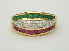14K Yellow Gold Vintage Multi-stone Natural Emerald, Ruby, C.Z. Ring, 7 US